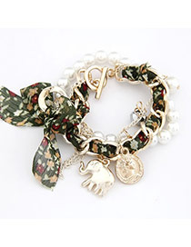 Urban Green Bow Elephant Design Lace Korean Fashion Bracelet