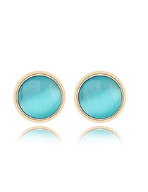 Korean sweet fashion simple design cymophane charm design studs earrings (Acid Blue)