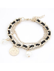 High Waist Black Coin Weave Design Alloy Korean Fashion Bracelet