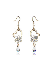 Writing White Earrings Alloy Crystal Earrings