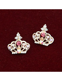 Lariat Multicolour Crown Decorated With Cz Diamond Alloy Stud Earrings