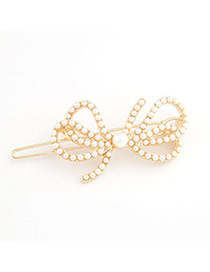 African White Exquisite Sweet Fashion Imitate Pearl Bow Tie Alloy Hair clip hair claw