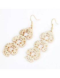 Scrabble Gold Color Hollow Out Charm Design Alloy Korean Earrings