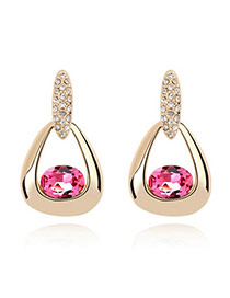 Kennedy Plum Red Earrings Alloy Crystal Earrings