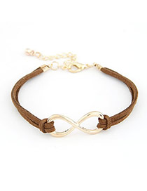 Caspari Brown Personality 8 Number Alloy Korean Fashion Bracelet