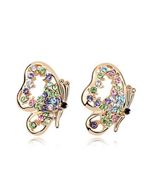 Homecoming Color+Champaign Gold Multicolour Earrings Alloy Crystal Earrings