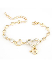 Invicta Gold Color Heart Lock Pendant Alloy Korean Fashion Bracelet