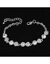Down Silver Color Heart Design Alloy Korean Fashion Bracelet