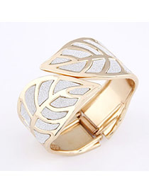Folding Gold Color Leaf Alloy Fashion Bangles