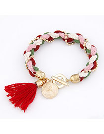 Memorable Red Knitting Wool Alloy Korean Fashion Bracelet