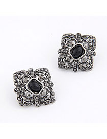 Uniform Antique Silver Square Shape Design Alloy Stud Earrings