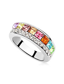 Glueless Multicolour Rings Alloy Crystal Rings
