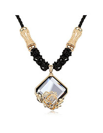 Statement Black Decorated With Cz Diamond Pendant Alloy Chains