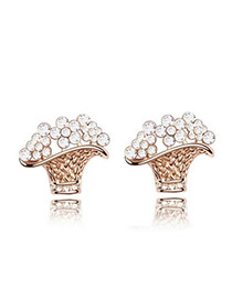 Business Rose Rold+White White Earrings Alloy Crystal Earrings