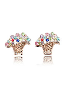 Luxury exquisite Austrian crystals studs earrings-flower basket (Rose Rold+Color)