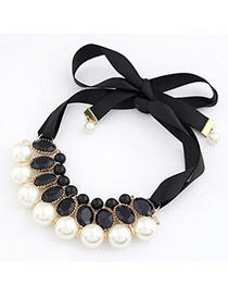 18K White Imitate Pearl Fake Collar