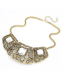 Memorable Bronze Hollow Out Pendant Alloy Bib Necklaces