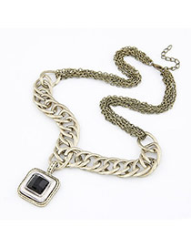 Real Bronze Square Shape Pendant Alloy Chains
