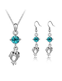 Dickie Blue Set-Double Dolphin Alloy Crystal Sets