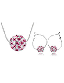 Native Plum Red Set-Colorful Ball Alloy Crystal Sets
