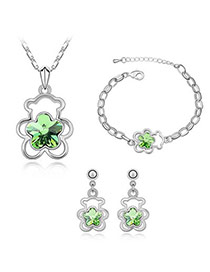 Disposable Olive Bear Alloy Crystal Sets