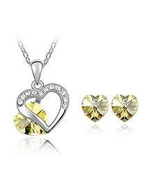 Digital Yellow Set-Heart Appointment Alloy Crystal Sets