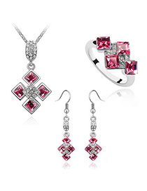 Floating Plum Red Set-Sweet Square Alloy Crystal Sets