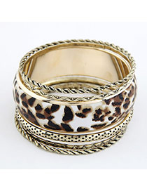 Vellum Leopard Leopard Pattern Multilayer Alloy Fashion Bangles