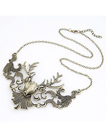 Flip Antique Silver Moose Design Alloy Bib Necklaces