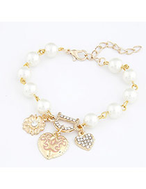 Kennedy Gold Color Two Heart Pendant Alloy Korean Fashion Bracelet