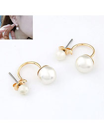 Couture Gold Color Simple Design Pearl Stud Earrings