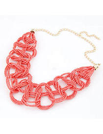 Dangle Red Handmade Small Bead Alloy Bib Necklaces