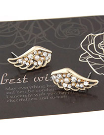 Circle Gold Color Sweet Wings Decorated With Cz Diamond Alloy Stud Earrings