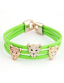 Piercing Green Leopard Design PU Korean Fashion Bracelet