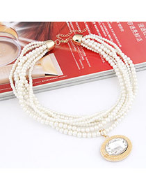 Masonic White Imitate Pearl Multilayer Design Alloy Beaded Necklaces