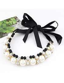 Engraved White Imitate Pearl Fake Collar