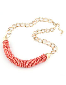 Lovely Orange Handmade Bead Design Alloy Bib Necklaces