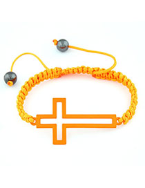 Pentacle Orange Hollow Out Corss Design Braided Rope Korean Fashion Bracelet