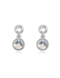Moving White Earrings Alloy Crystal Earrings