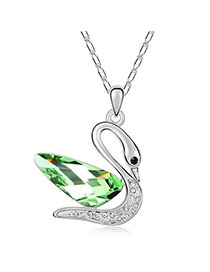Current Olive Green Princess Swan Crystal Crystal Necklaces