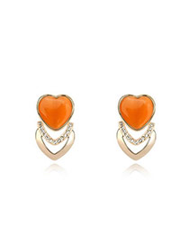 Magnifying Orange Earrings Alloy Crystal Earrings