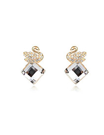 Facial White Earrings Alloy Crystal Earrings