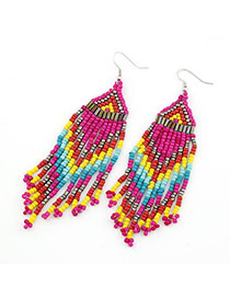 Rent Multicolour Handmade Bead Tassels Design Alloy Korean Earrings