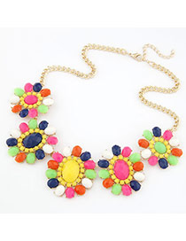 Amethyst Multicolour Flower With Beads Alloy Bib Necklaces