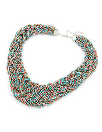 Dreamlike Multicolour Handmade Bead Alloy Bib Necklaces