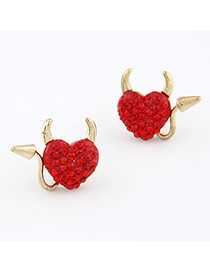 Discount Red Heart Shape Design Alloy Stud Earrings