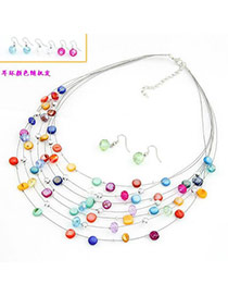 Acrylic Multicolour Shell Design Multilayer Alloy Jewelry Sets