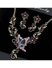 Waltons Multicolour Butterfly Flower Czechic Zircon Jewelry Sets
