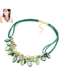 Skeleton Green Multi Oval Shape Shell Bib Necklaces
