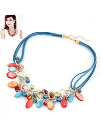 Daisy Blue Multi Oval Shape Shell Bib Necklaces